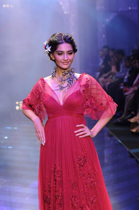 Actress Sonam Kapoor Ramp Walk Stills In Red Gown