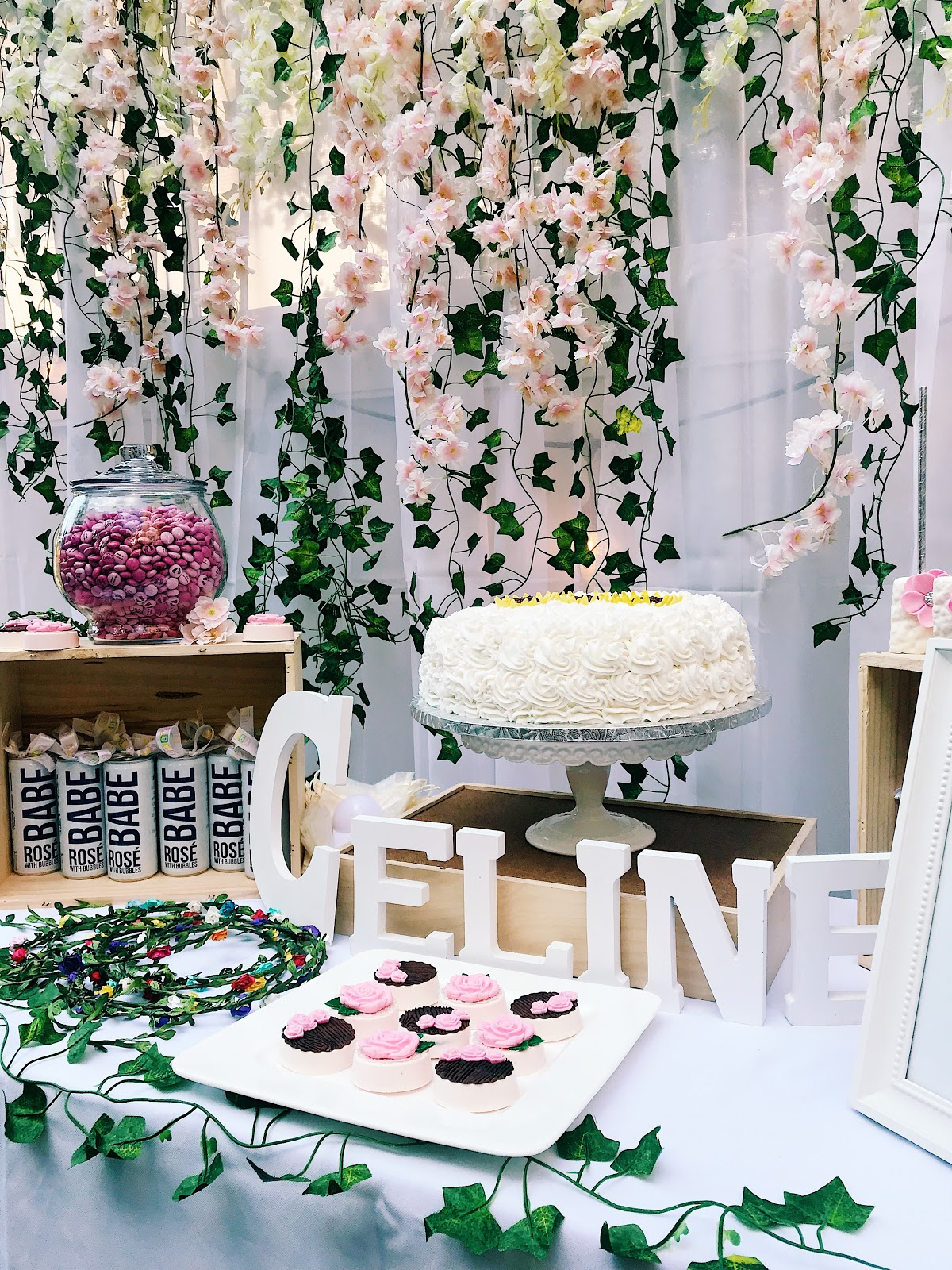 garden theme baby shower, cake table, garden decor, flower crowns