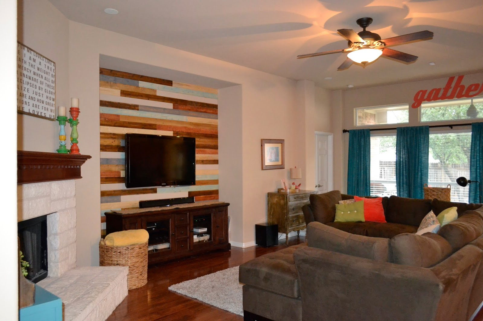 Your little birdie wood plank wall how to make it random - Wood walls in living room ...