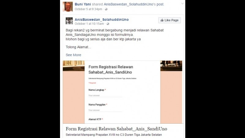Buni Yani membagikan form pendaftaran relawan Sahabat Anies-Sandiaga