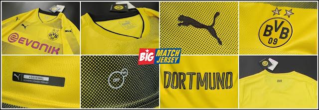Detail Baju Jersey Puma BVB Borussia Dortmund Home Official Musim 2017-2018