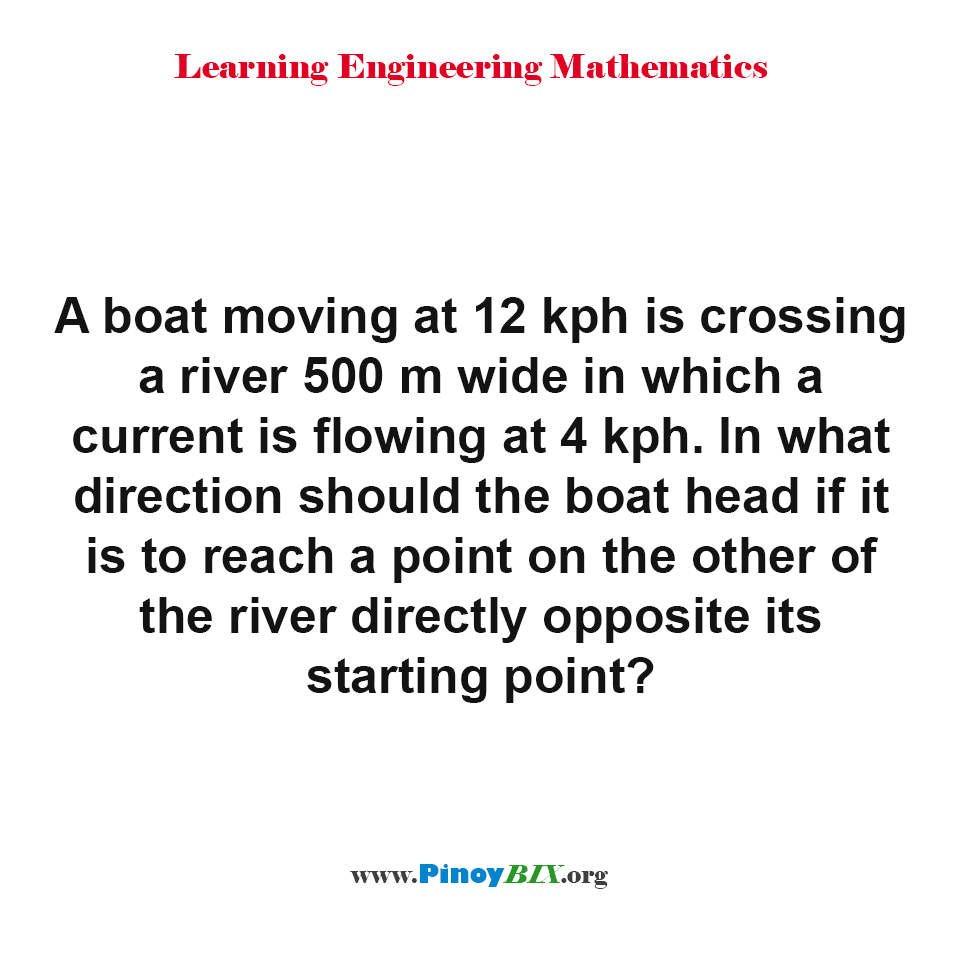 In what direction should the boat head if it is to reach a point on the other side of the river
