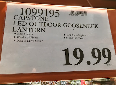 Deal for the Capstone LED Outdoor Gooseneck Lantern at Costco