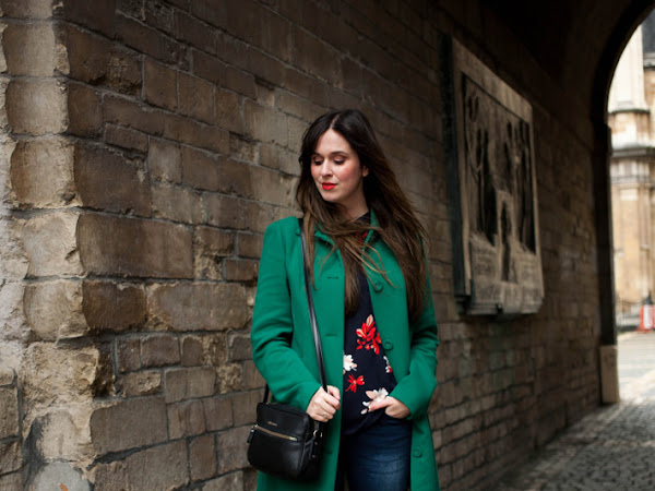 Outfit: professional in moss green coat and bootcut denim