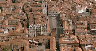 Ferrara, Italy - aerial view of historical centre