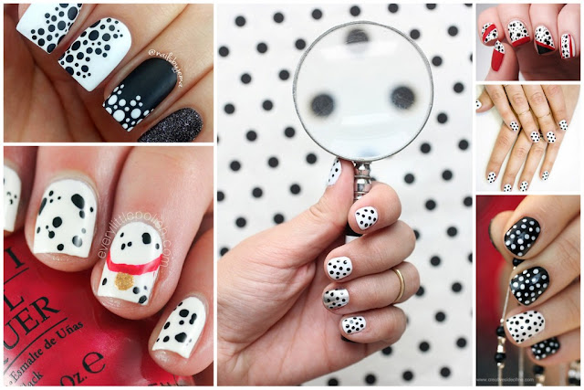 A collection of DIY polka dotted Dalmatian nail polish design ideas