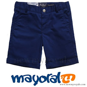 Prince George wore Mayoral Boys Blue Shorts and Belt Set