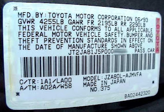 Toyota tire pressure stickers