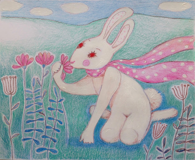 rabbit white hare pink flowers scarf drawing colored pencil