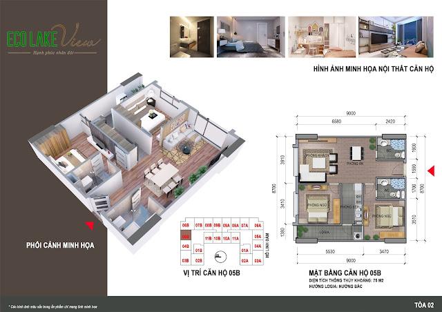Thiết kế căn hộ 05B tòa HH2 chung cư ECO LAKE VIEW