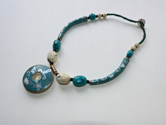 Tibetan style turquoise and shell beads necklace