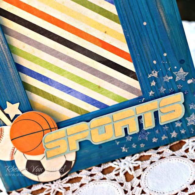 BoBunny Fine Arts Friday Altered Frame featuring Game On collection with Pentart Lasur Indoor Gel in Blue designed by Rhonda Van Ginkel