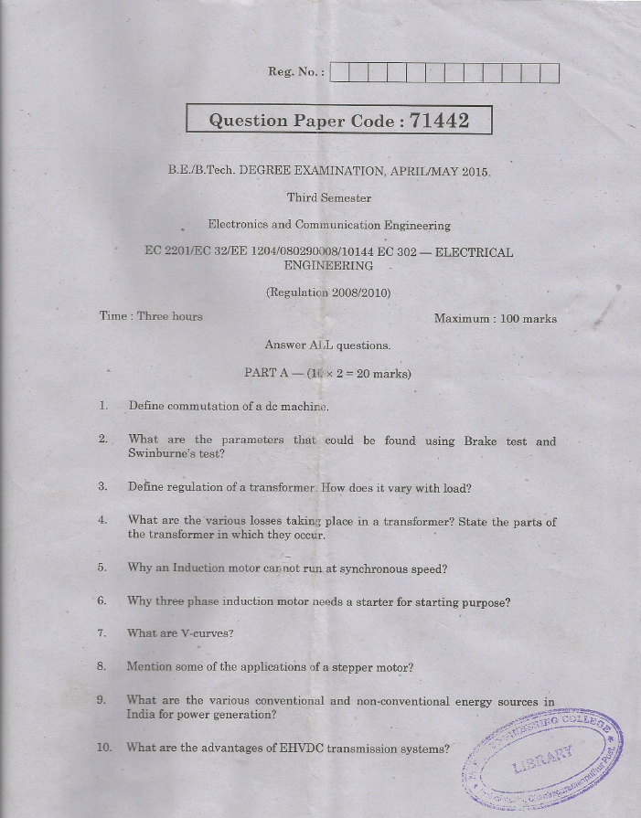 EC2201 Electrical Engineering April May 2015 Question