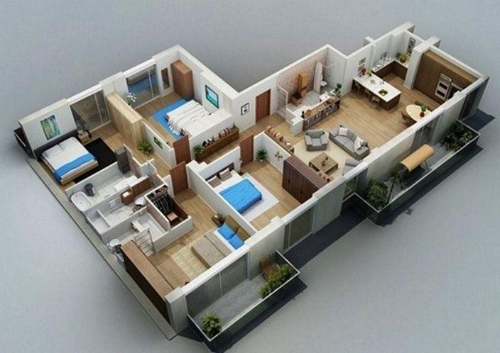 denah rumah satu lantai tiga kamar tampak minimalis