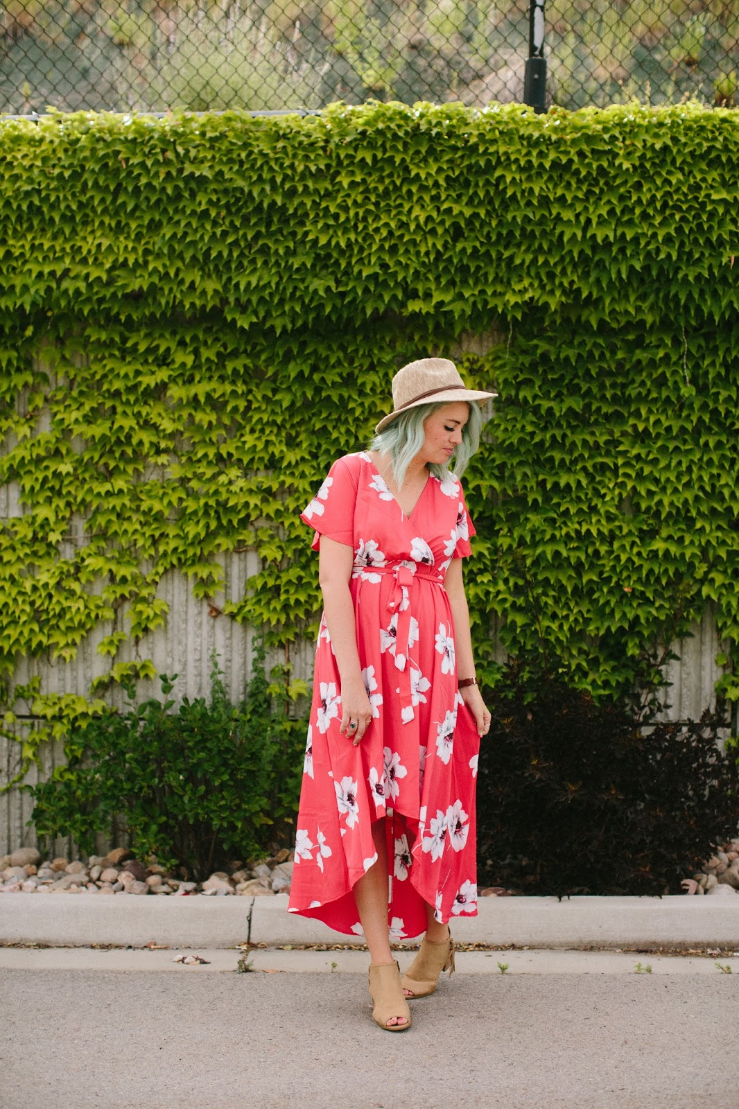 Summer outfit, Utah fashion blogger, coral dress