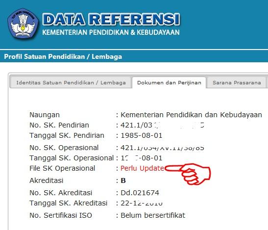 Cara Upload File Scan SK Operasional Sekolah SD/SMP/SMA Negeri dan Swasta di vervalsp.data.kemdikbud.go.id