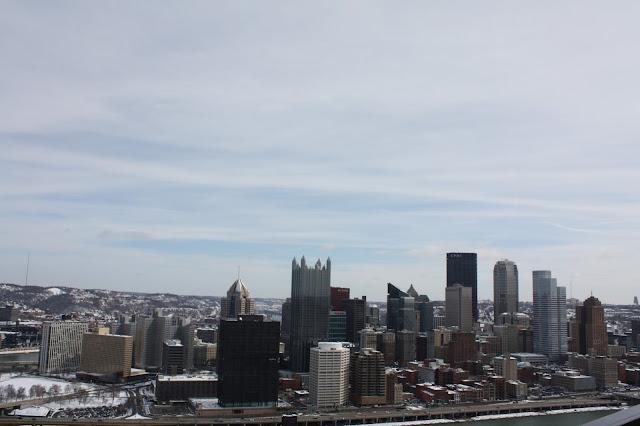 Pittsburgh skyline in winter