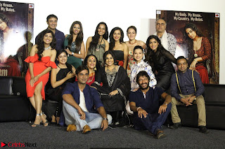 Vidya Balan with Ila Arun Gauhar Khan and other girls and star cast at Trailer launch of move Begum Jaan 018.JPG