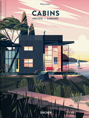 Portada de libro Cabins con ilustraciones de casas y paisaje CRUSCHIFORM