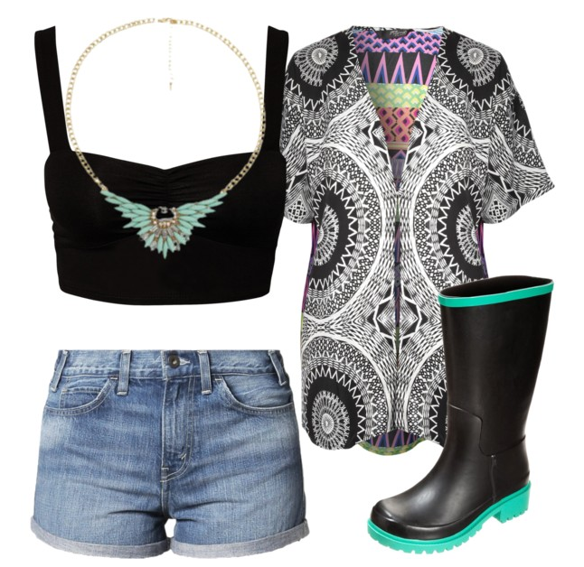 Polyvore - festival inspired outfit with wellies and denim shorts