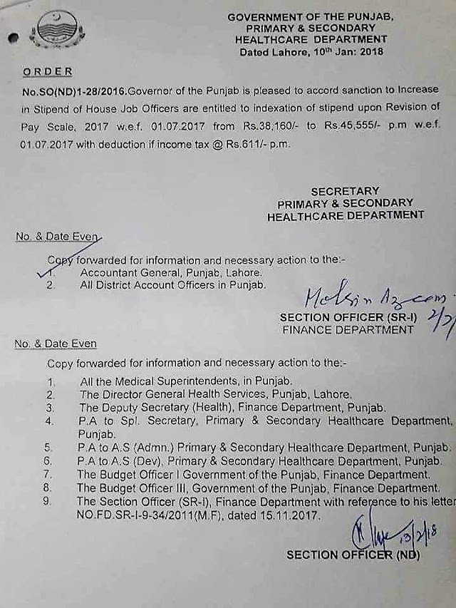 NOTIFICATION REGARDING INCREASE IN STIPEND OF HOUSE JOB OFFICERS