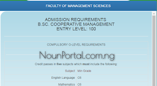 NOUN Admission Requirements - B.Sc. Cooperative Management
