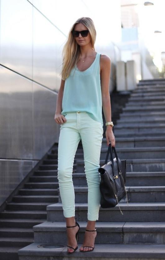 hot  fashion trends   combine pants mint green