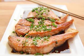 Salmon Sitting in Teriyaki Sauce