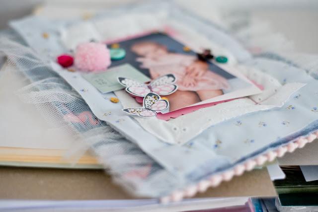 скрапбукинг рамка для фото из ткани