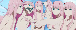 Example of kami-bura 髪ブラ - character Zero Two  from anime Darling in The FranXX