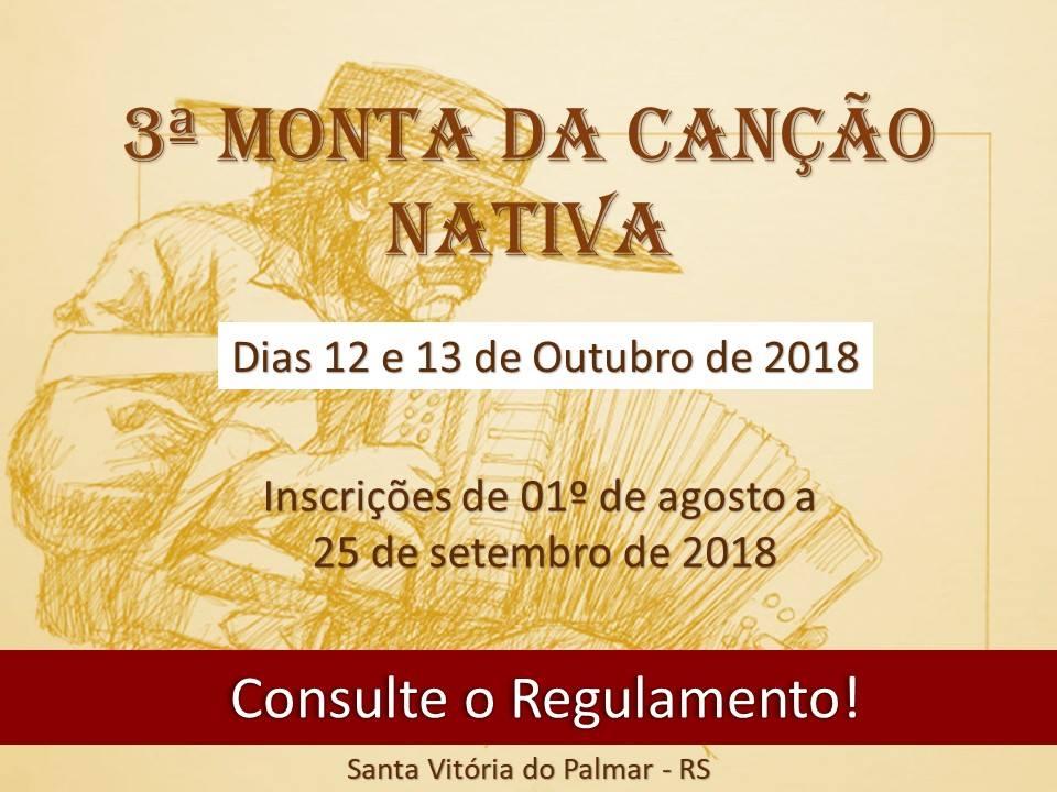 A 3ª Monta da Canção Nativa acontece nos dias 12 e 13 de outubro na cidade de Santa Vitória do Palmar-RS