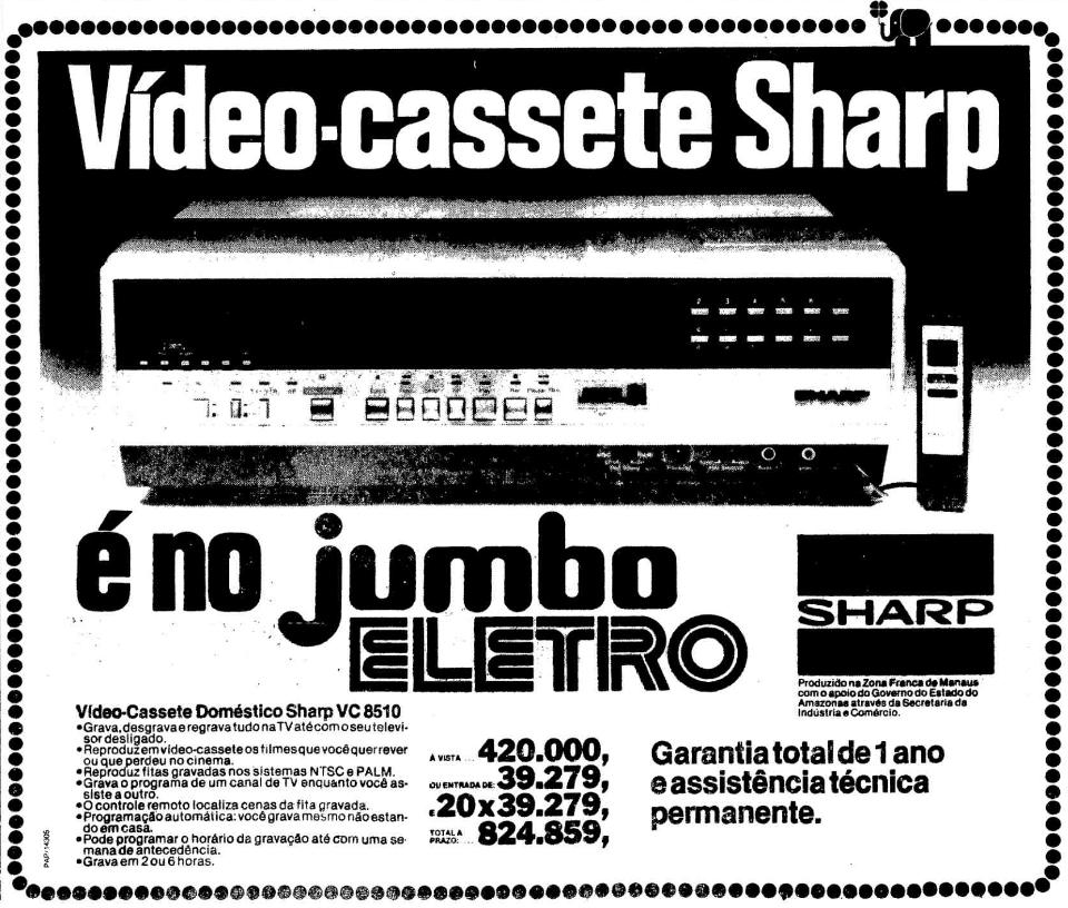Propaganda antiga do Jumbo Eletro anunciando o videocassete Sharp em 1982
