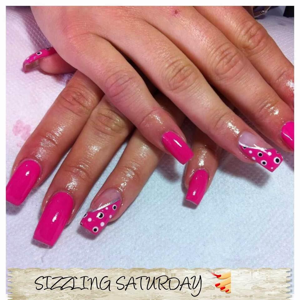 Acrylics, shellac, nail art designs french hot pink ...