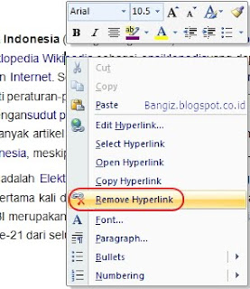 Remove hyperlink word