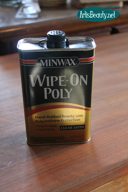 MINWAX WIPE ON POLY HAND RUBBED FINISH MCM MID CENTURY MOD DRESSER MAKEOVER DIY FURNITURE