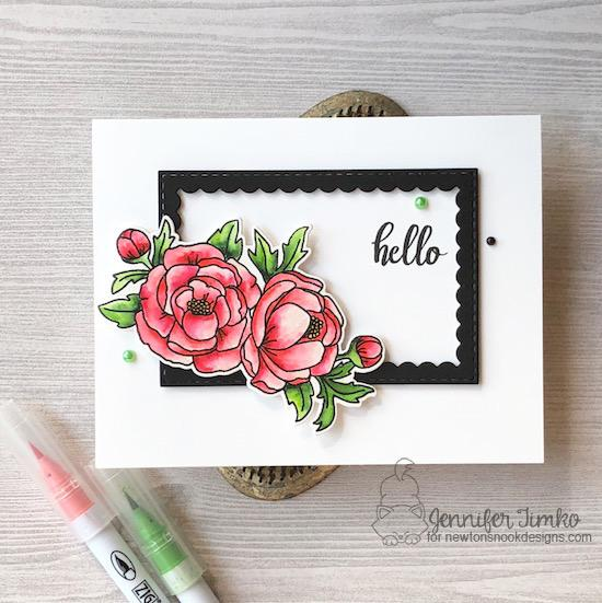 Floral Card by Jennifer Timko | Peony Blooms Stamp Set and Framework Die set by Newton's Nook Designs #newtonsnook #handmade