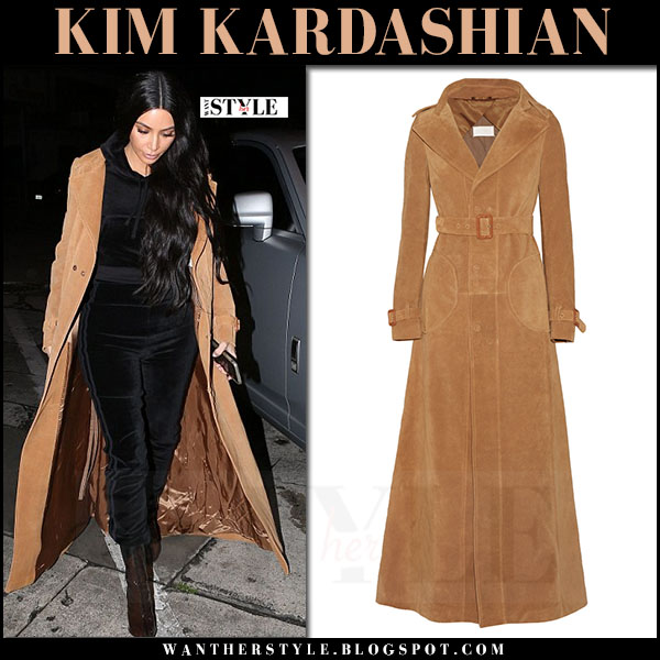 Kim Kardashian in camel suede trench coat maison margiela, velour vetements juicy couture sweatshirt and pants with clear PVC boots yeezy what she wore