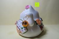 Seite: Japanische Maneki Neko Glückskatze aus Porzellan (Klein, 12 cm)