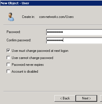 Create Domain User Account in Windows Server 2008