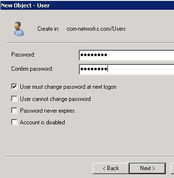 Create Domain User Account in Windows Server 2008