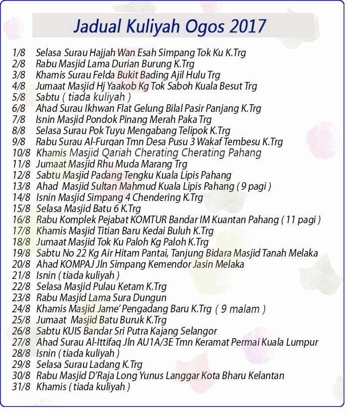 Jadual Kuliah UAI bulan Ogos 2017