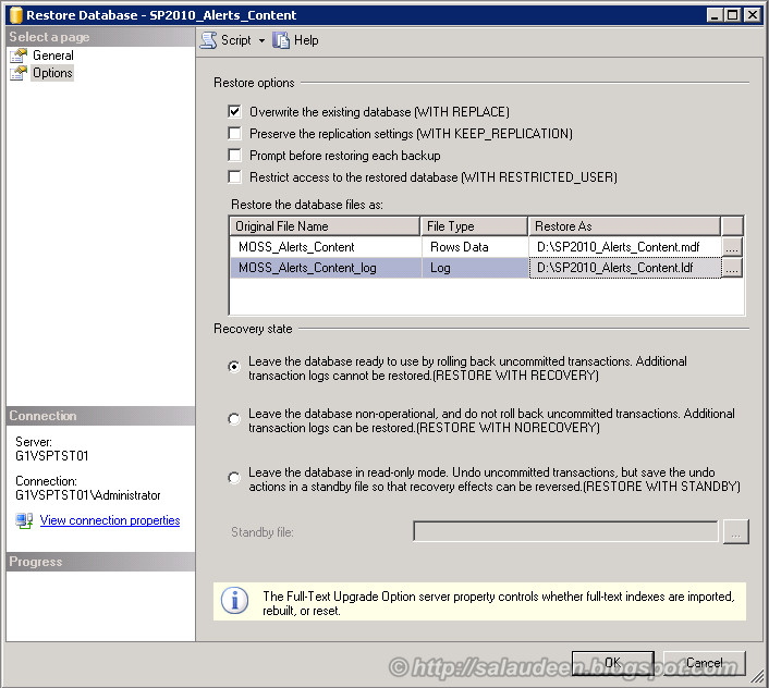 restore sharepoint content database in sql server for sharepoint 2007