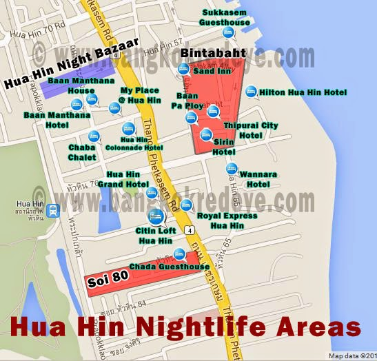 A map of red light districts and guest friendly hotels in Hua Hin.