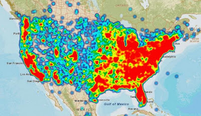 United States Heat Map of Cell Phone Coverage Problems