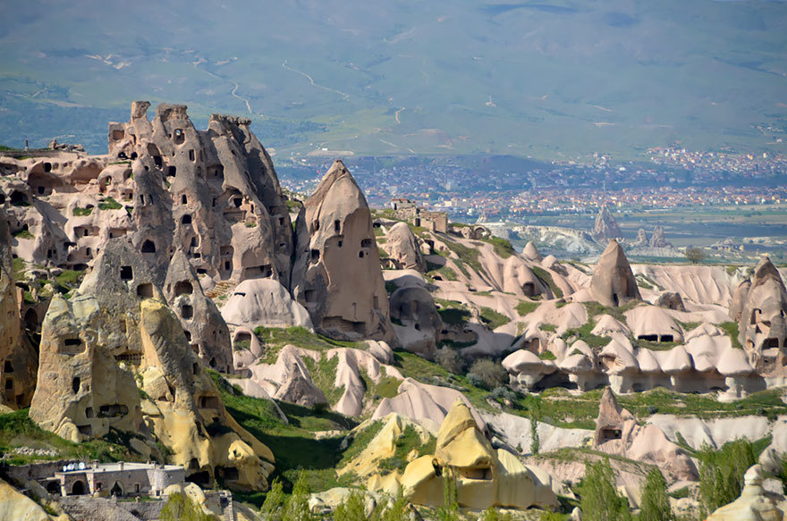 14 Crazy Hotels That Will Give You Serious Travel Goals - Fairy Chimney Hotel in Turkey is right in the middle of Cappadocia, famous for the tufa rock cones. In fact, portions of the hotel are actually carved from the cones themselves.