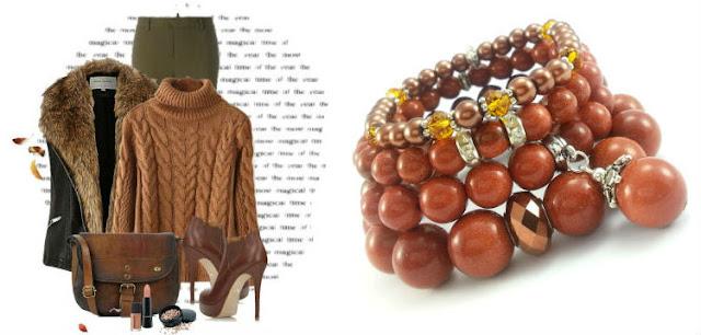 Zestaw brązowych stylizacji z rudo brązowymi bransoletkami z kamieni