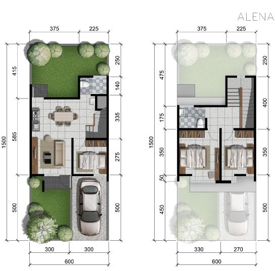 Denah rumah minimalis ukuran 6x15 meter 3 kamar tidur 2 lantai