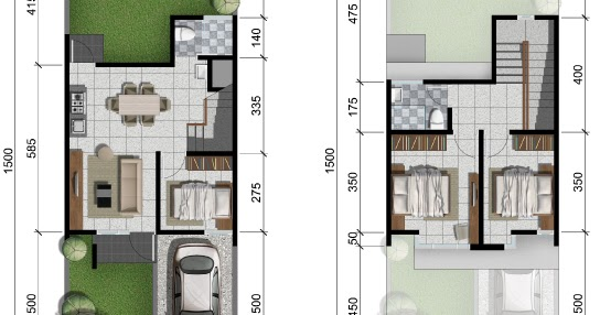 LINGKAR WARNA: Denah rumah minimalis ukuran 6x15 meter 3 ...