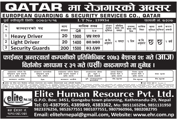 Free Visa & Free Ticket, Jobs For Nepali In Qatar, Salary -Rs.55,290/