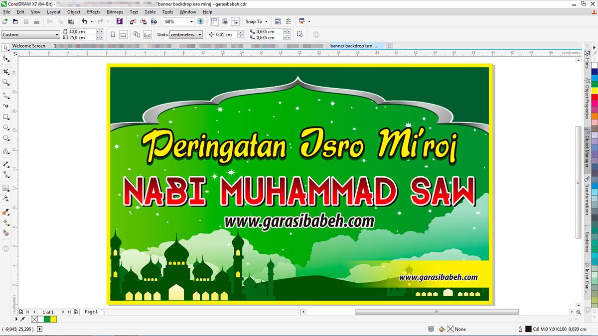 Template Banner Pengajian Isro Miroj cdr
